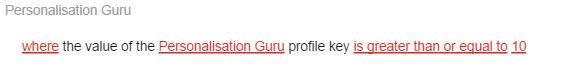 Personalisation guru rule