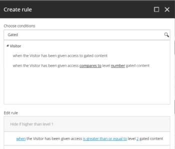 Sitecore Levelled Gated Access Personalization Rule