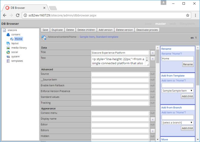 Sitecore admin dbbrowser